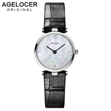 Swiss Fashion Brand AGELOCER Dress Gold Quartz Watch Women Clock Female Lady Leather Strap Wristwatch Relogio Feminino Luxury montre homme fashion women dress watches lady elegent quartz watch soft silicone strap clock female wristwatch relogio masculin