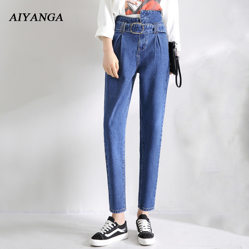 2018 Spring New High Waist   Jeans   For Women Denim Harem Pants Fashion Sashes Trousers Female Solid Color Blue Casual   Jeans