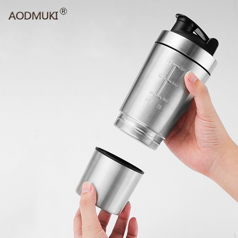 26OZ Water Bottles Detachable Whey Protein Powder Sport Shaker Bottle For Stainless Steel Cup Vacuum Mixer Outdoor Drinkware image