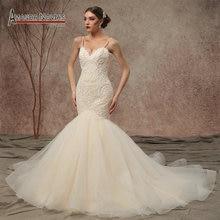 2020 New Model Spaghetti Straps Beaded lace Mermaid Wedding Dresses NS3449
