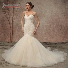 2020 novo modelo alças de espaguete frisado rendas sereia vestidos de casamento ns3449