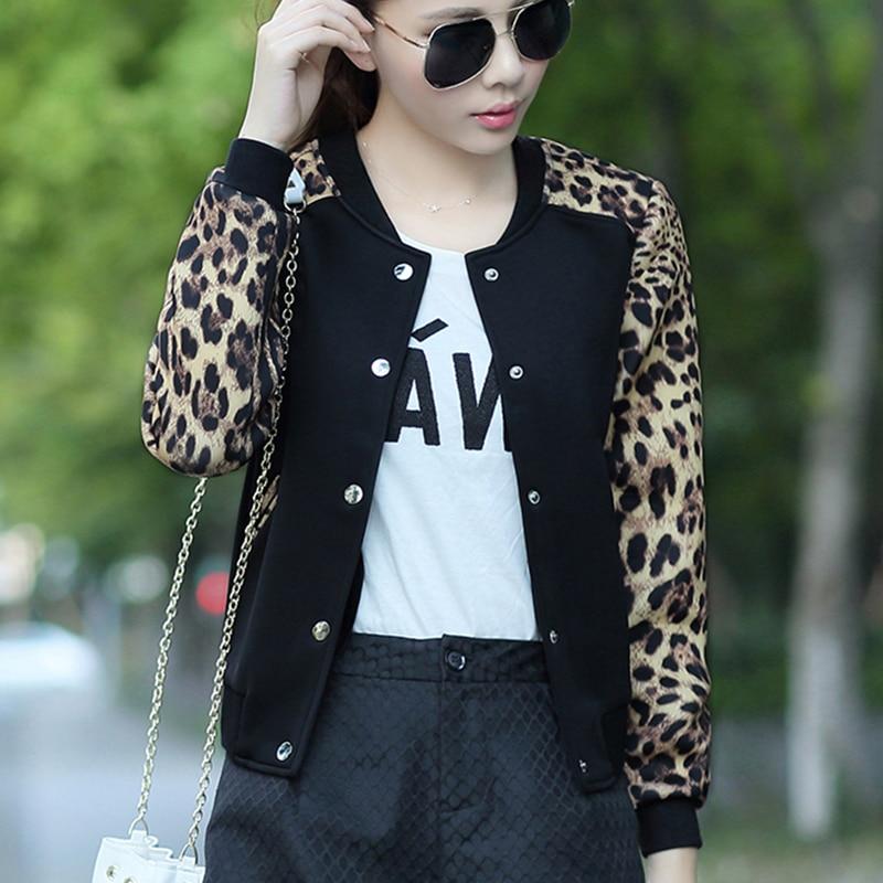 Women's Clothing Basic Jackets Leopard Print Jacket Women Long Sleeve Streetwear Tops 2019 Autumn Spring Baseball Basic Jacket Fashion Girl Thin Bomber Coat Fixing Prices According To Quality Of Products