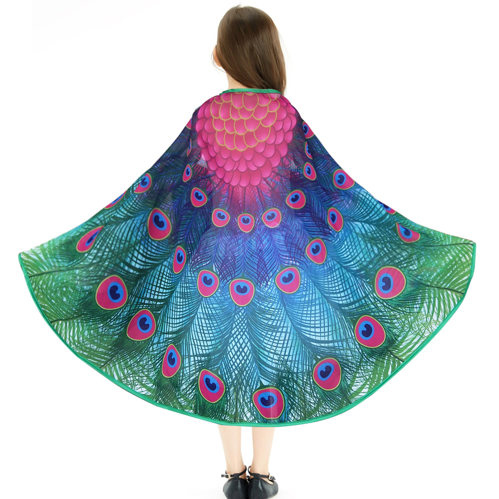 D.Q.Z 120*70 cm Girls Peacock Wing And Mask Kids Costumes Shawl Party Girl Dress Cartoon Character Cosplay Easter Gifts on AliExpress