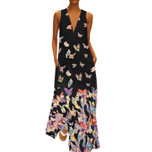купить 2019 Summer Plus Size S-5XL Dress V Neck Loose Butterfly Print Sleeveless For Women Casual Long Maxi Dress платье Freeship N4 дешево