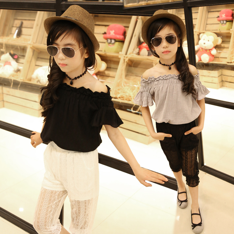 ФОТО bebek tulum Short sleeve Linen Lotus Leaf Collar Girls Shirt Top Fashion Retro Kids Clothing slash neck first communion dresses