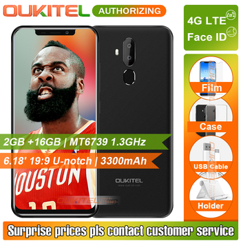 "OUKITEL C12 Pro 4G LTE 6.18"" 19:9 Smartphone 2GB+16GB Face IDMT6739 Quad Core Fingerprint Android 8.1 3300mAh Mobile Phone"
