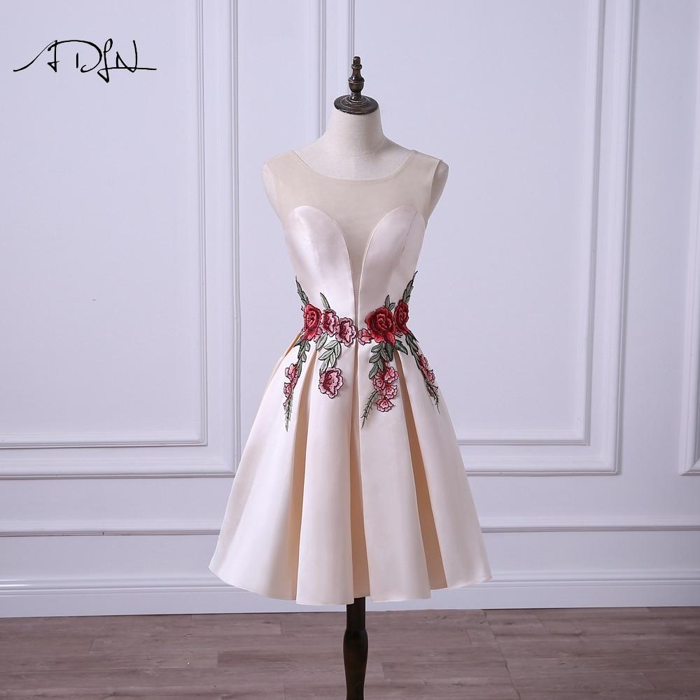 ADLN Sheer Neck A Line платье подружки невесты с вышивкой розы полуофициальное короткое платье для свадебной вечеринки по индивидуальному заказу