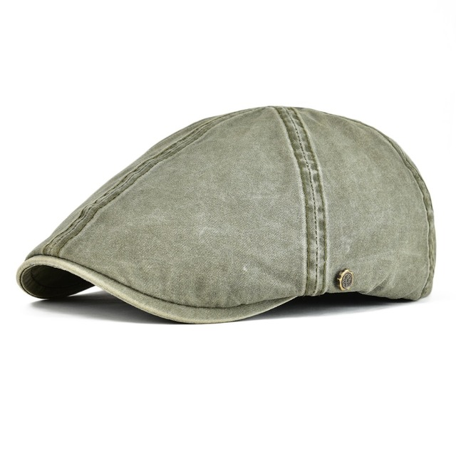 453bc41cd92cf VOBOOM Green Khaki Washed Cotton Beret Cap Men Cabbie Hat Male Ivy Flat Hat  Lightweight Boina