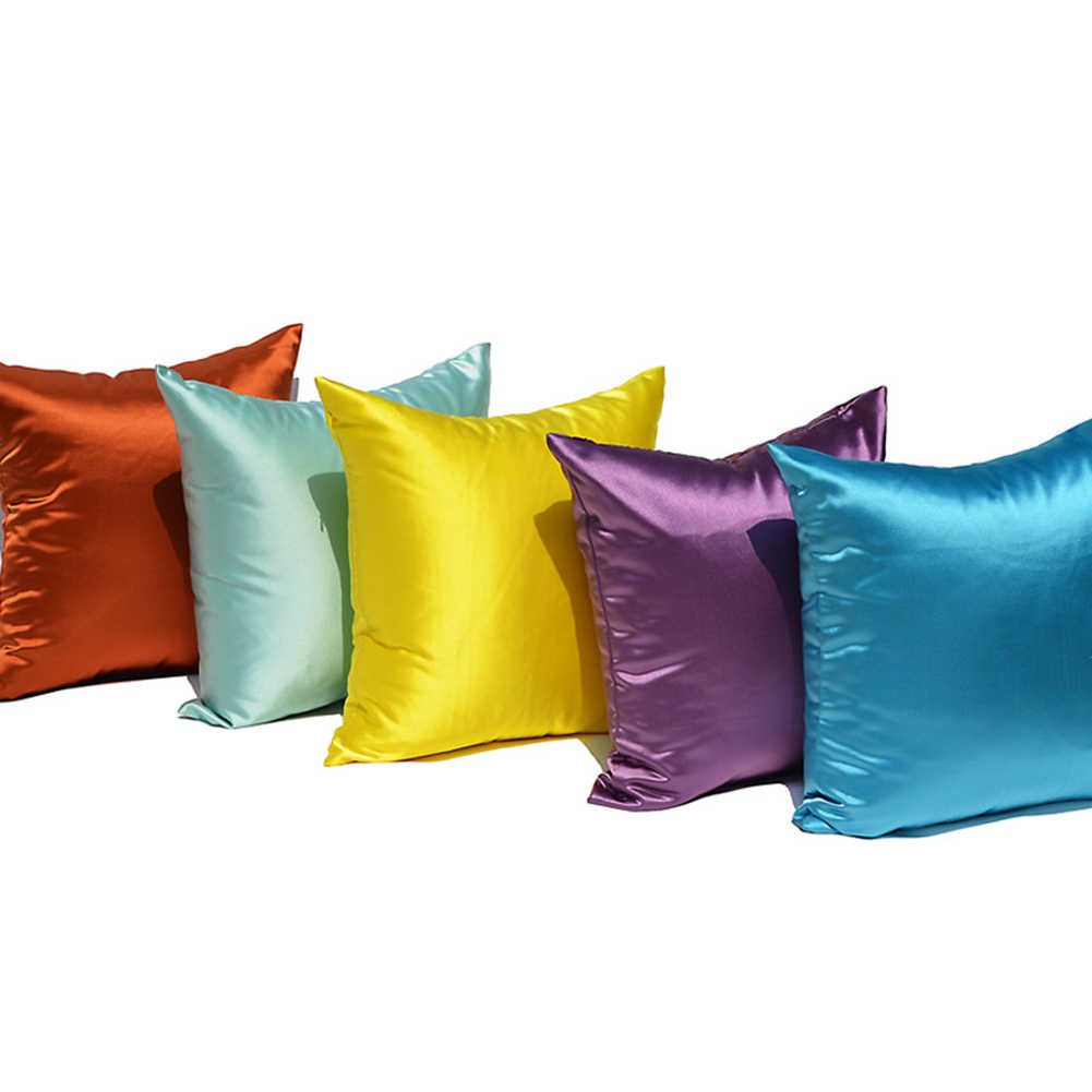 Violet Decorative Satin Cushion Home Decor Pillow Throw Solid Plain Cover 40cm