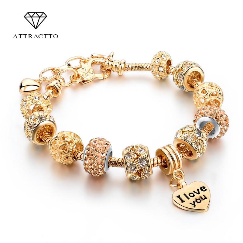 ATTRACTTO Heißer Verkauf 2018 Herz Charme Armbänder & Armreifen Gold Armbänder Für Frauen DIY Pulsera Berühmte Marke Schmuck SBR150074