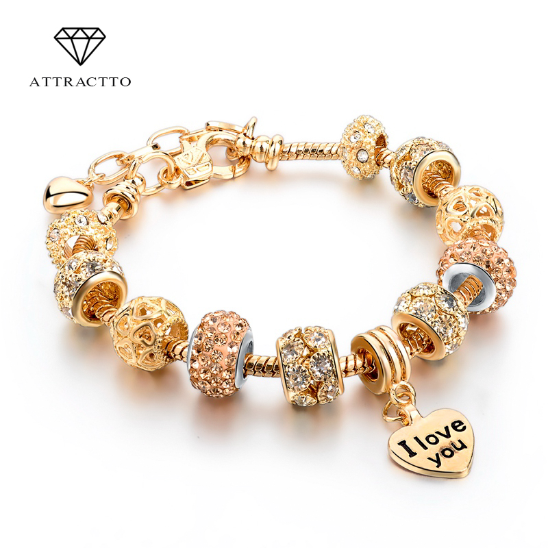 ATTRACTTO Hot Selling 2018 Heart Charm Armbånd & Bangles Guld Armbånd For Kvinder DIY Pulsera Berømte Brand Smykker SBR150074