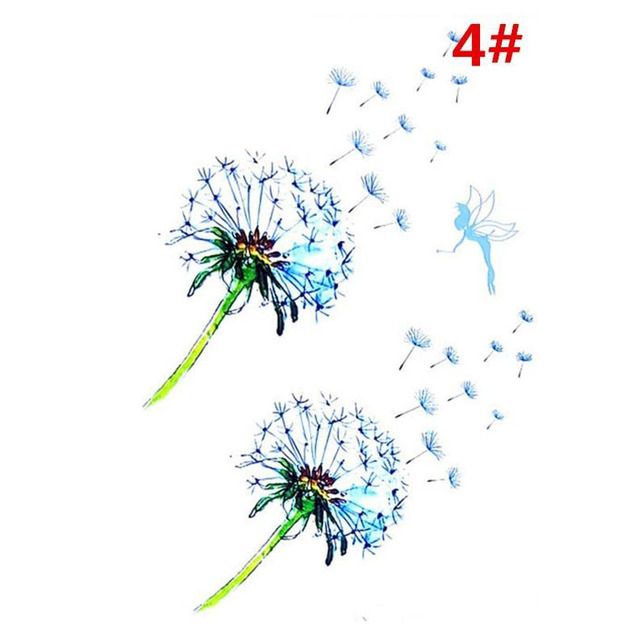 Sale New Sweet Blue Feather Flower Arm Back Temporary Stickers Female Men Couple Disposable Tattoo Stickers Fashion Body Art 5
