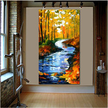 100% Handmade Autumn Stream scenery PALETTE KNIFE landscape Oil Painting On Canvas large size wall decoration art