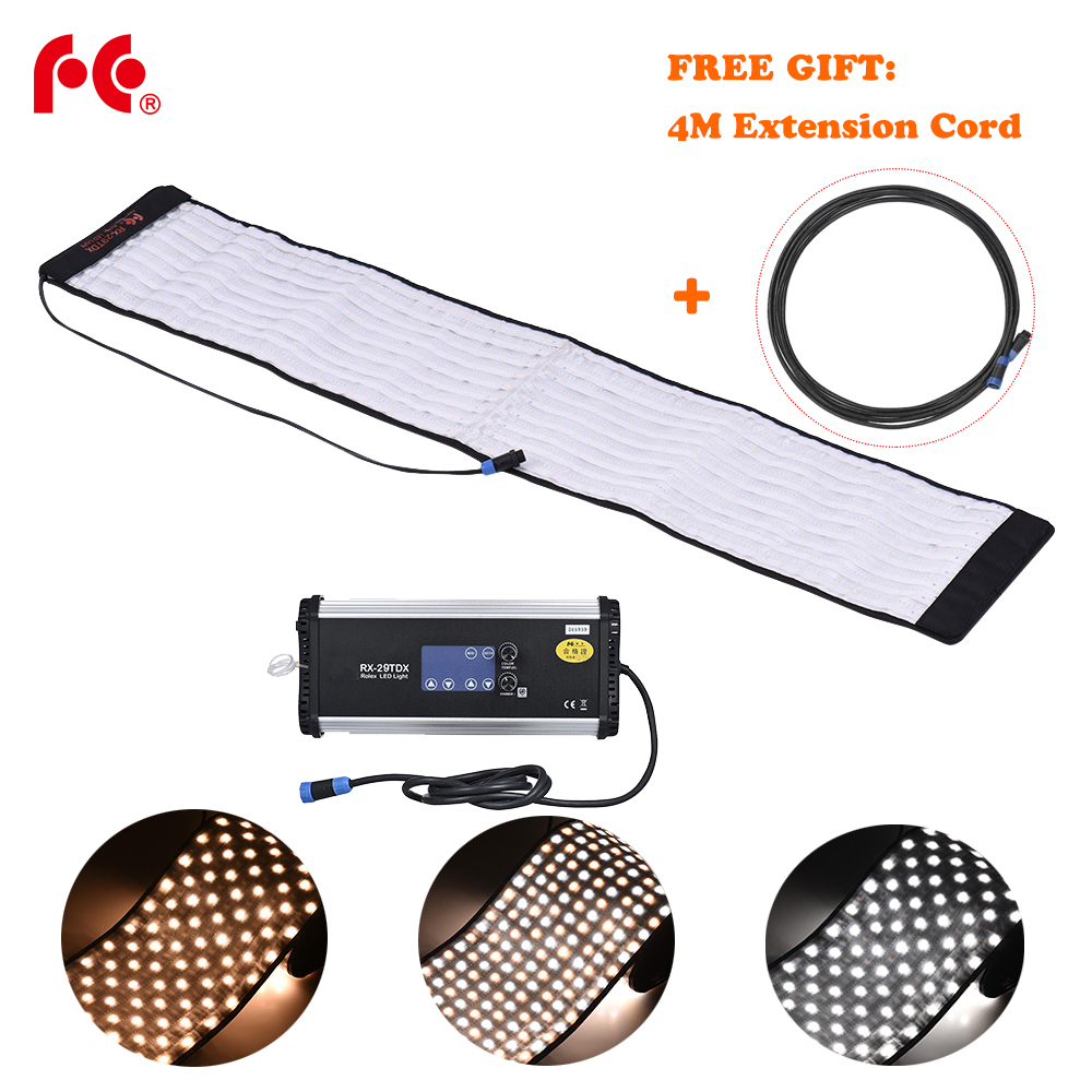 US $398 7 10% OFF|FalconEyes RX 29TDX 100W Roll Flex LED Mat Fill in Light  Panel Bi Color 3000K 5600K CRI95 for Photo Video Studio Photography-in
