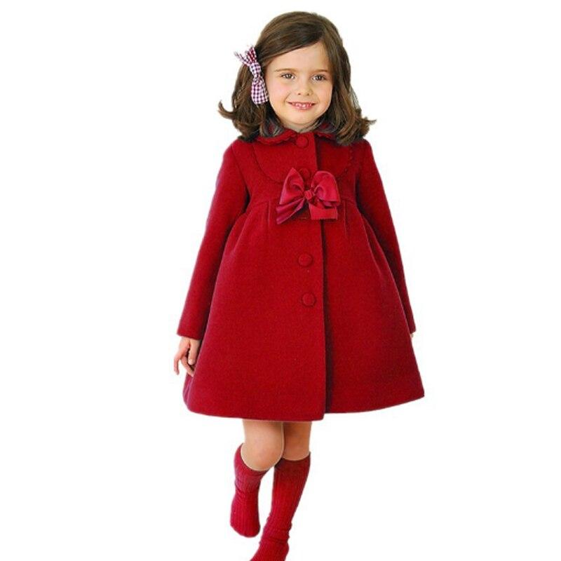 2018 Frühling Baby Mädchen Oberbekleidung Mäntel Mit Bogen Kinder Warme Kleidung Kid Mädchen Lange Jacken Infantil Kaschmir Mantel Mode Rot Zu Hohes Ansehen Zu Hause Und Im Ausland GenießEn