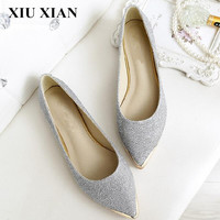 Spring Autumn Women Ballet Flats Pointed Toe Flats Shoes Sequined Cloth Ladies Shoes Flats Tendon Slip