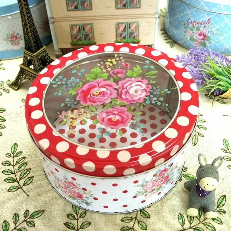 Creative Transparent Sunroof Film Tin Box Medium Floral Round Cookie Gift Box Tea Candy Jewelry Seasoning Storage Box