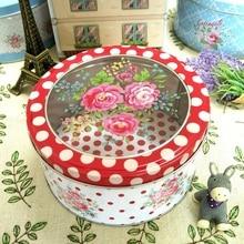 Creative Transparent Sunroof Film Tin Box Medium Floral Round Cookie Gift