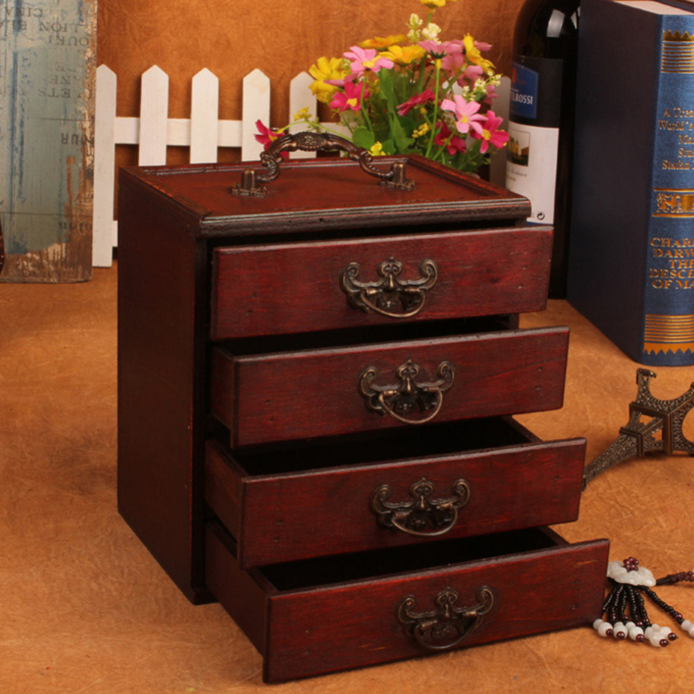 Antique Wooden Jewelry Storage Box Retro Ming & Qing Dynasty Style 4 Drawers Make-up Storage Box Organizer drawer