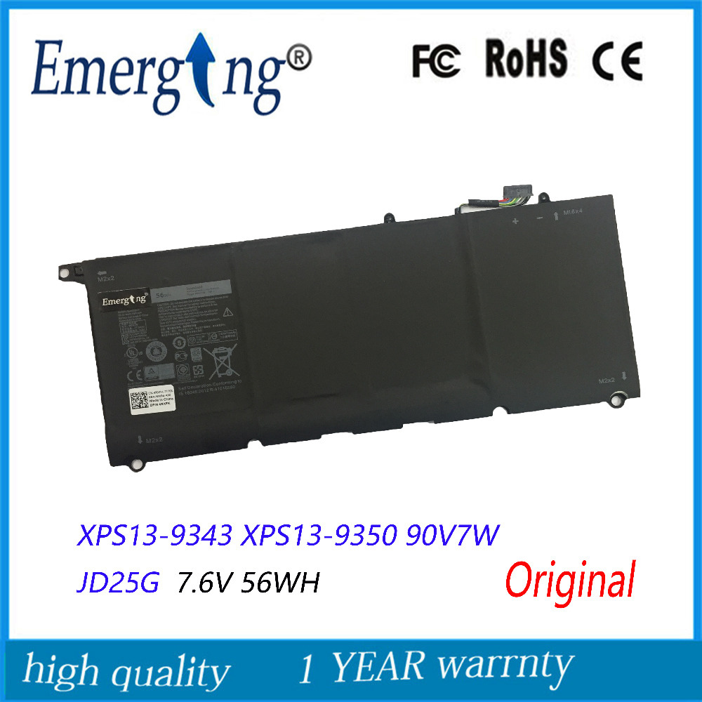7.6V 56Wh New Original Laptop Battery for Dell XPS13-9343 XPS13 9350 90V7W JD25G DIN02 P54G new laptop keyboard for dell xps 13 9343 9350 9550 backlit uk layout