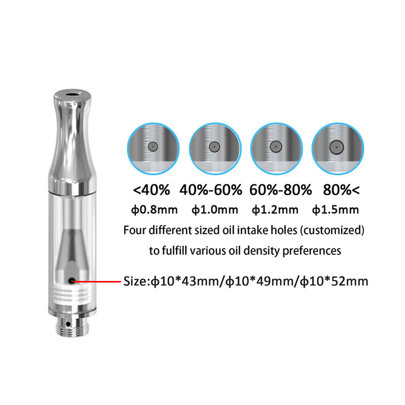 10pcs/Lot  Atomizer A8 Vape eCig Glass Material Atomizer 0.5ml 1.0ml Wickless Thick Oil 510 Thread Cartridge Round Mouth CE3 A4