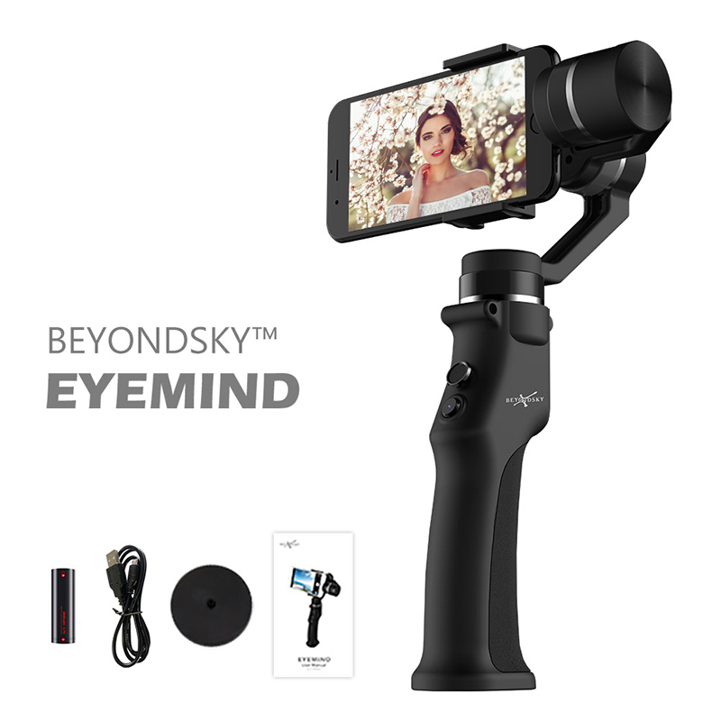 beyondsky eyemind smartphone handheld gimbal 3 axis stabilizer for iphone 8 x xiaomi samsung action camera vs zhiyun smooth q EYEMIND 3-Axis Handheld Smartphone Gimbal Stabilizer VS Zhiyun Smooth Q Model for iPhone X 8Plus 8 7 Android Sports Cameras
