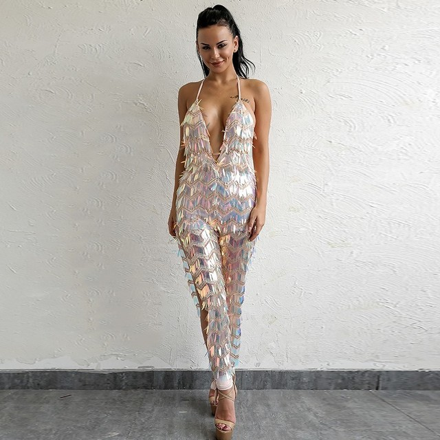 Backless Sexy Sequin Jumpsuit 2