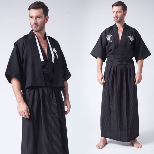 3 Pc Set Japanese Kimonos Traditional Clothing Samurai Cosplay Costume Men Vintage Long Kimono Summer