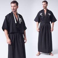 3 Pc/Set Japanese Kimonos Traditional Clothing Samurai cosplay costume Men Vintage Long Kimono summer style Cotton Yukata 042503
