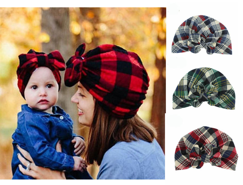 Mommy child bow Turban Hat Stylish baby kids hat headbands 2pcs one ... a0803745a22