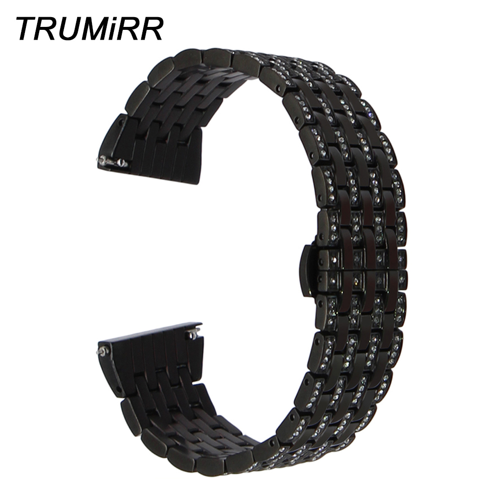 20mm Crystal Diamond Watch Band for Garmin Vivomove Bradley Timepiece Withings Steel HR 40mm Quick Release Steel Wrist Strap цены в интернет-магазинах