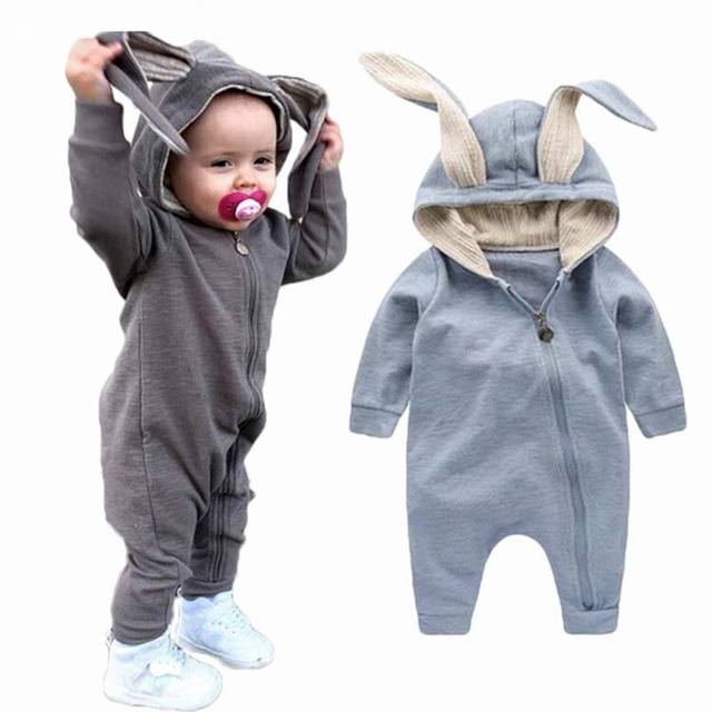 9bb44ec9b Cute Baby Girl Cotton Rompers Newborn Boy Soft Solid Zipper Romper Toddler Hooded  Long Sleeve Jumpsuit Clothes Baby Costume