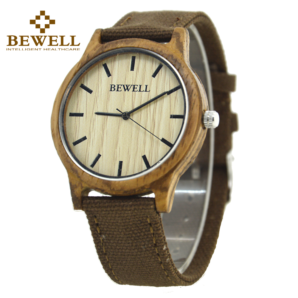 High Quality BEWELL Bamboo Sandal Wooden Quartz Top Brand WristWatches For Male Female As Gift Relogio Masculin Canvas Band 134A