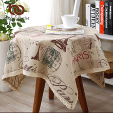BeddingOutlet Eiffel Tower Printed Tablecloth Linen And Cotton Table Cloth Rectangular Lace Edge Europe Table Cover 9 Sizes Hot