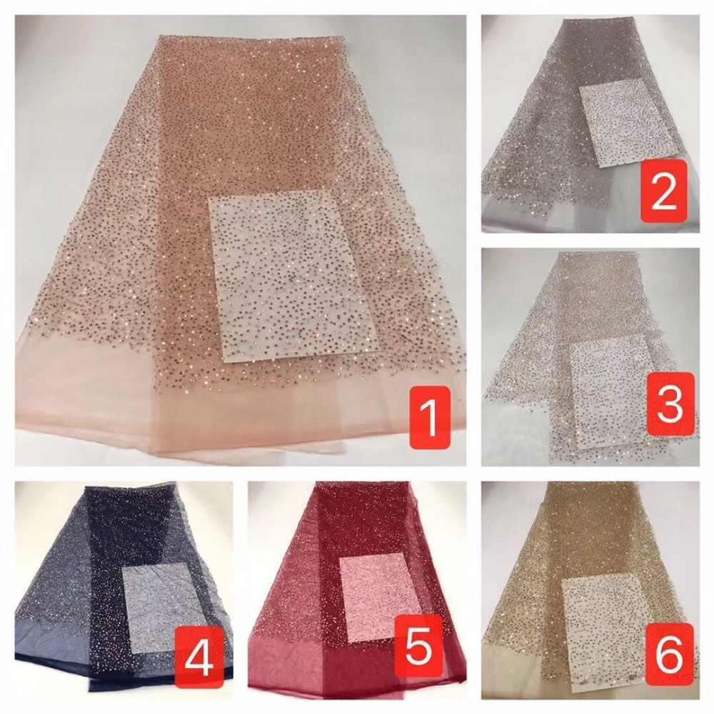 2019 hohe qualität sequenz Französisch Nigerian pailletten netto spitze, afrikanische tüll mesh sequence spitze stoff für kleid 5 yards/lot YYZ682