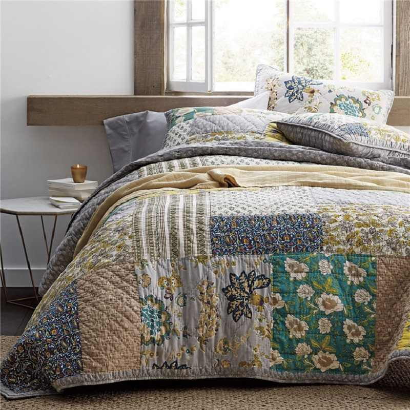 Vintage Patchwork Bedspread Quilt Set 3pcs Quilted Bedding Handmade Cotton Quilts Bed Covers King Size 234 269 Coverlet Blanket Quilts Aliexpress