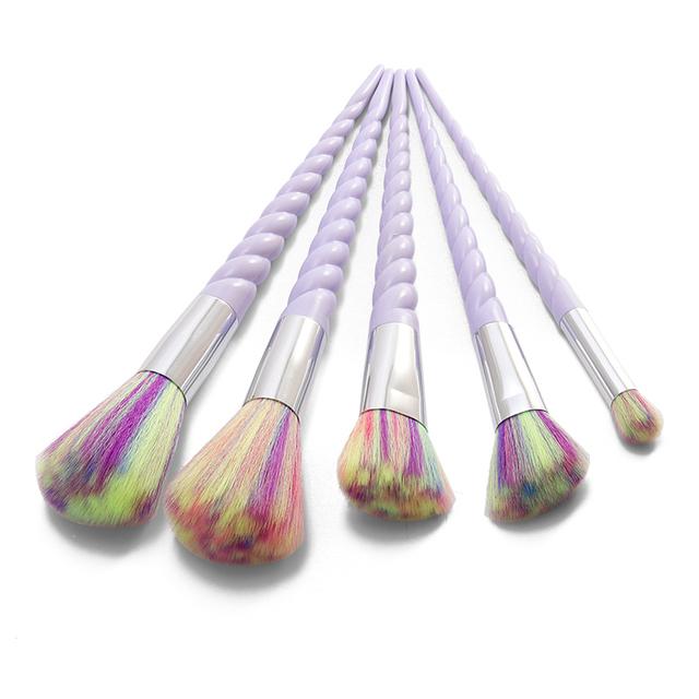 5pcs/set Unicorn Thread Makeup Brushes Set Rainbow Hair Cosmetic Foundation Eye shadow Blusher Powder Unicorn Blending Brush