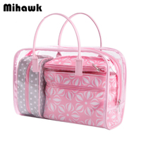 4Pcs Pink PVC Cosmetic Bag Transparent Waterproof Organizer Pouch Flowers Makeup Bags Handbag Accessories Supplies Products