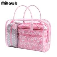 4 قطع الوردي pvc الزهور حقائب ماكياج التجميل حقيبة شفافة للماء منظم الحقيبة حقيبة الملحقات إمدادات المنتجات