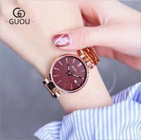 GUOU Watches Women Top Brand Women Watch Rose Gold Bracelet Watch Stainless Steel Auto Date Watch