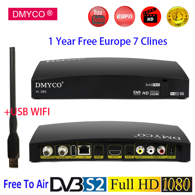 DMYCO Digital Satellite Receiver D4S Pro 1080P DVB-S2 High Definition DVB-S2 LNB Receptor Support 1 Year Clines,WIFI,H.265,HEVC недорого