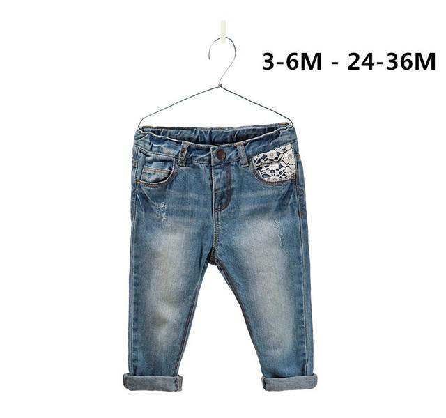Chegam novas marca de moda bebê desgaste jeans menina 100% do bebê do algodão calças tamanho frete grátis : 3 M - 24 M