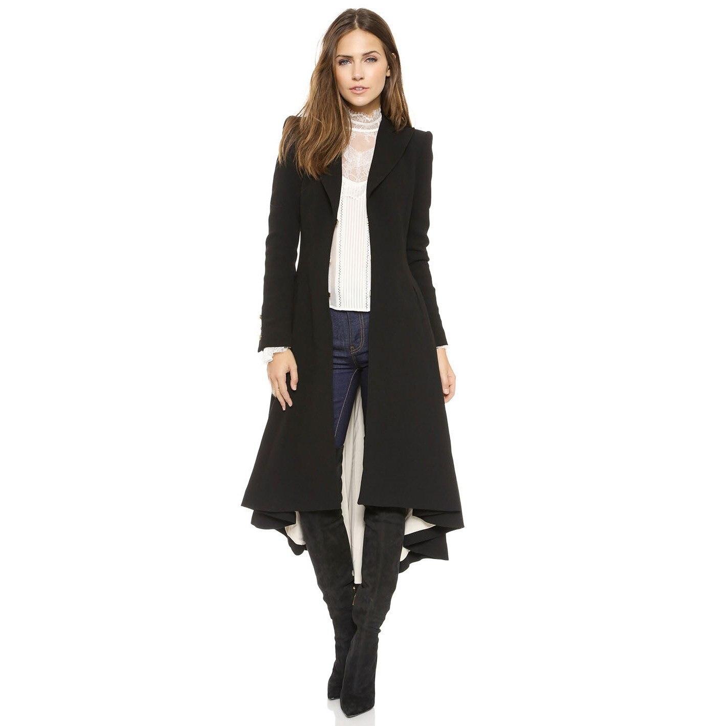 Décontracté Longues coat Style Longue Mode Queue Noir À Automne D'aronde Trench Européenne Manches Tranchée Mince Femmes Maxi Twq1Fxt8Y