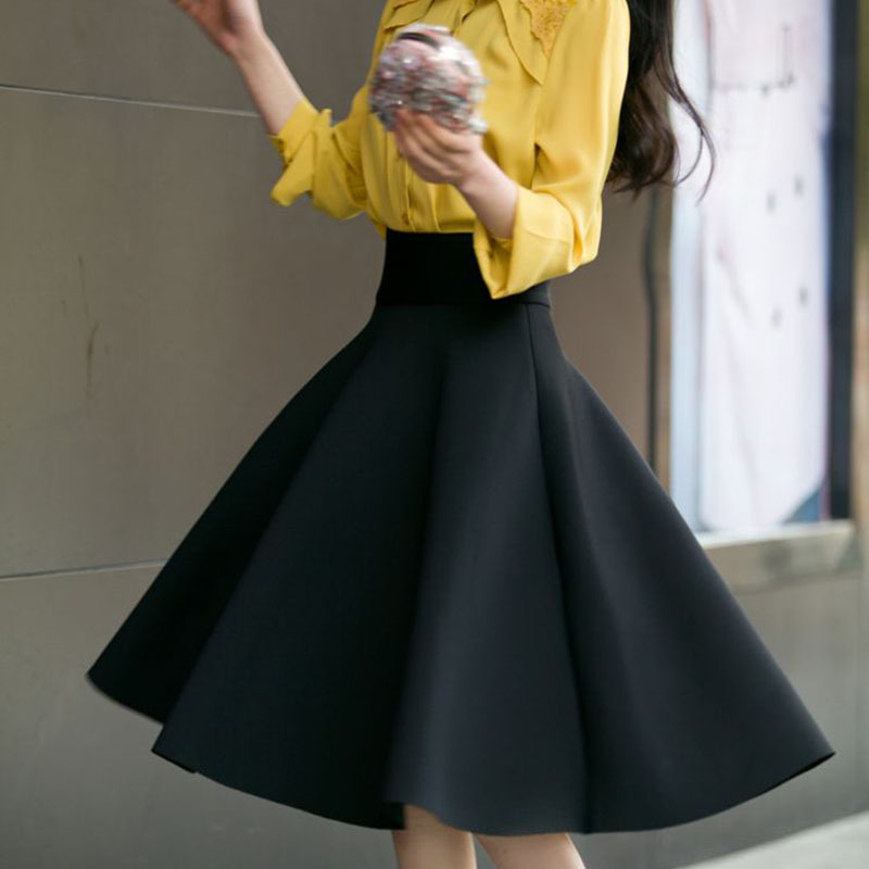 f7f023e31407 High Waist Pleat Elegant Skirt Green Black White Knee Length Flared Skirts  Fashion Women Faldas Saia 5XL Plus Size Ladies Jupe-in Skirts from Women's  ...