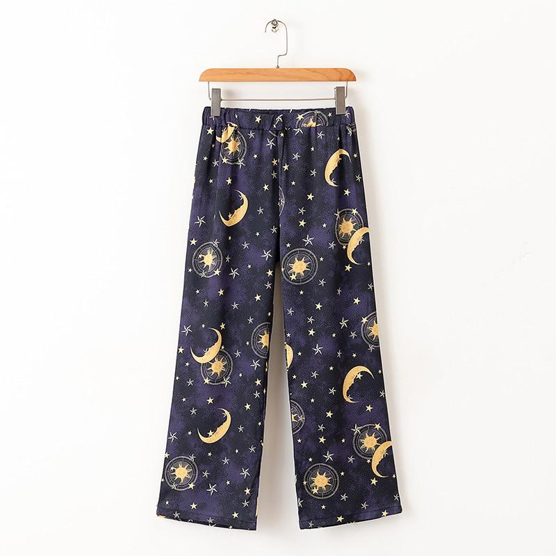 2019 Stylish   Pants   Stars Space Moons Print Women Trousers Elastic Waist Fashion Ladies   Wide     Leg     Pants   Cozy Bottoms