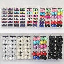 цены на Fashion 12 Pairs/Pack Wholesale Women Lady Colorful Round Artificial Pearls Ear Stud Ball Earrings  в интернет-магазинах