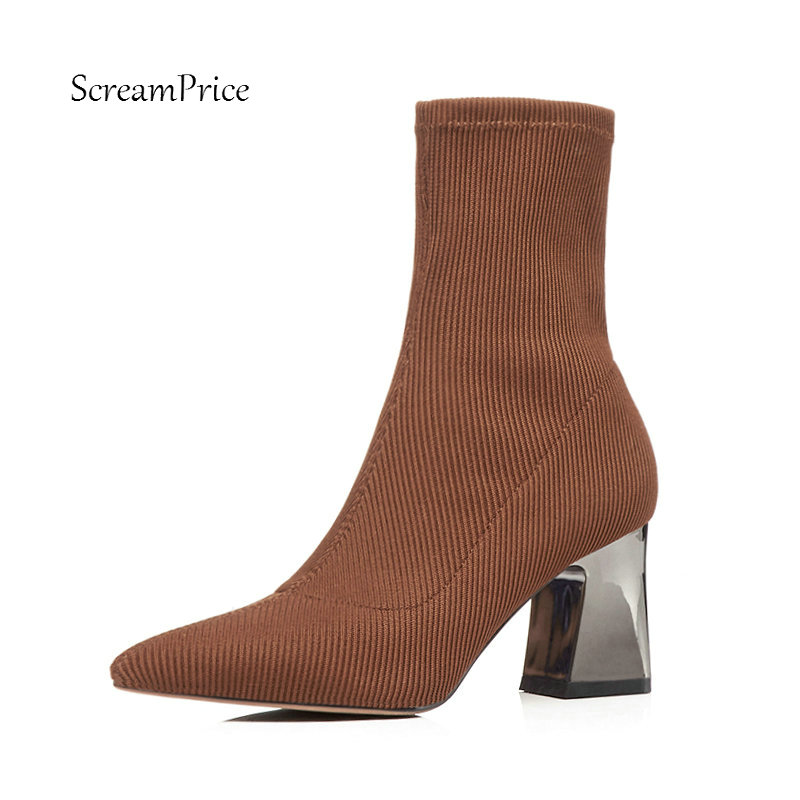 Female Knitting Comfort Square Heel Ankle Sock Boots Fashion Slip On Pointed Toe Women Fall Winter Bootie Black Brown female platform thick high heel ankle boots fashion slip on sock boots women comfort round toe fall winter shoes black
