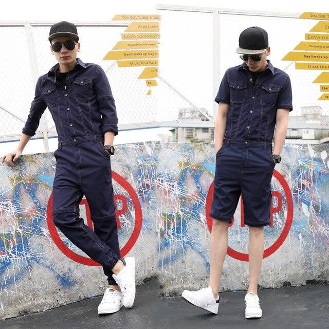 d6cd47227b4 2019 New Men Sets Long Jumpsuit Campus Rompers Demountable Slim-fitting Hip  Hop Young Jumpsuits