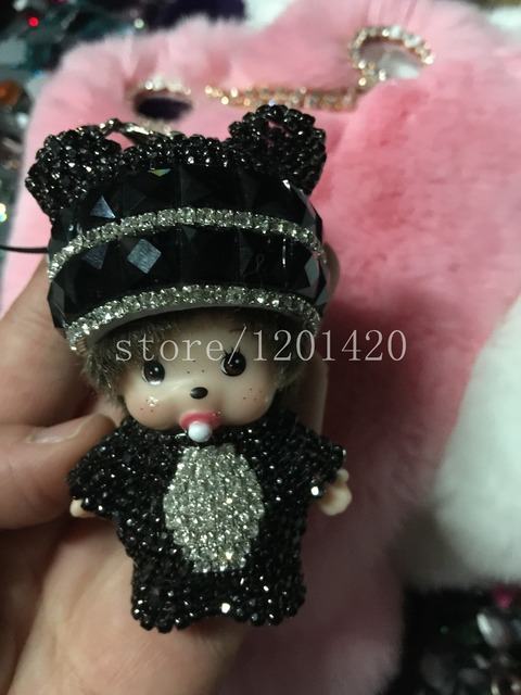 black crystal monchichi Charm Jewelry Crystal keyring keychain bag charm, handbag charm