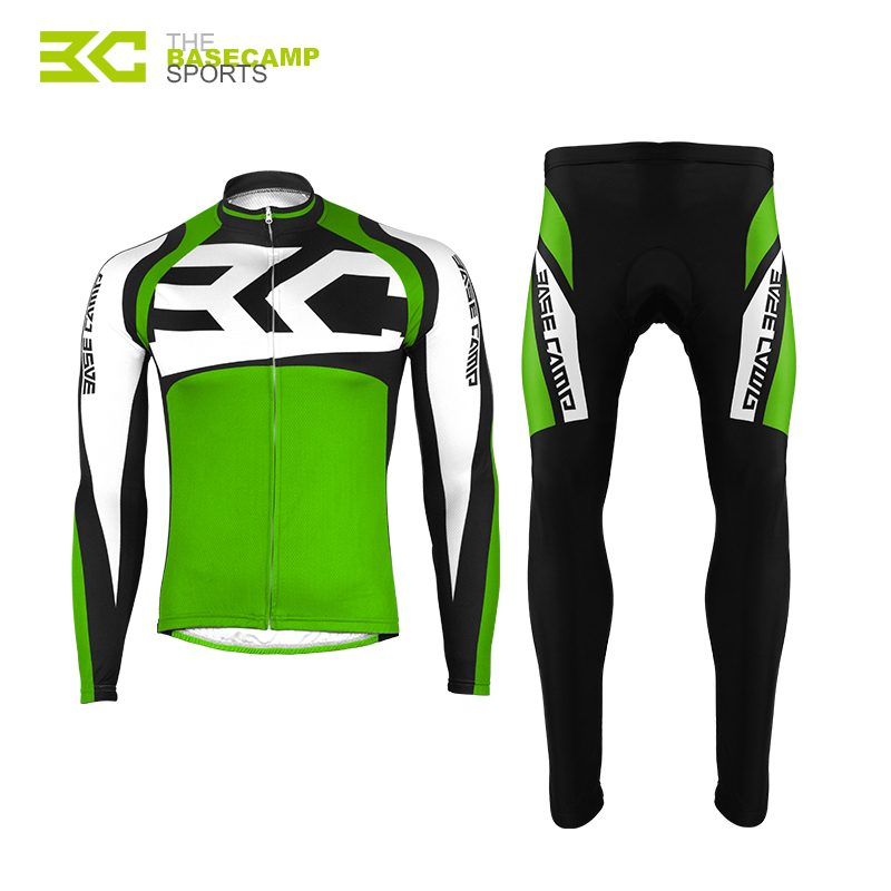 BaseCamp Cycling Jacket Sets Full Sleeve Women and Men Riding Breathable Bicycle Jersey 3D Gel Padded Bike Pants Tour France